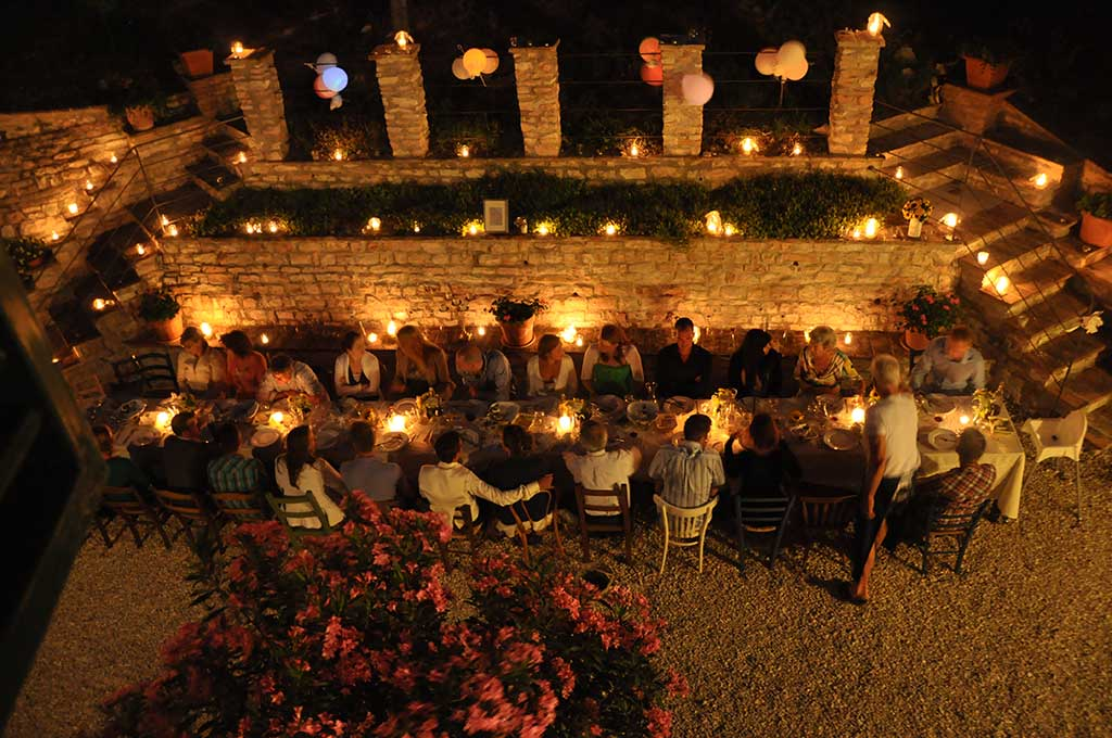 evening dinner at agriturismo belfiore in italy