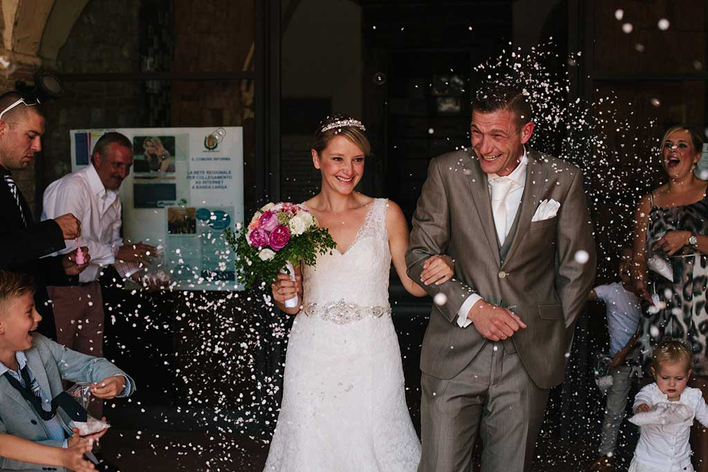 happy wedding couple in italy